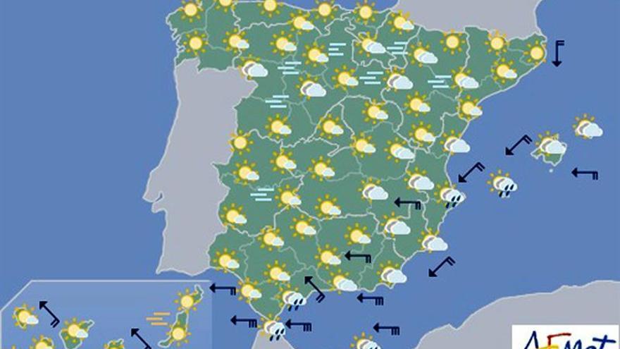 Hoy, tiempo inestable en el sureste y Levante y nieblas en el interior