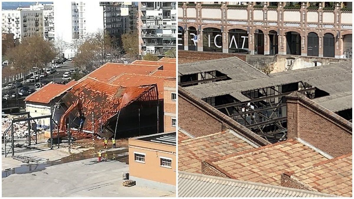 Demolición en la zona sur de Cocheras de Cuatro Caminos y desmontaje de tejados en parte norte