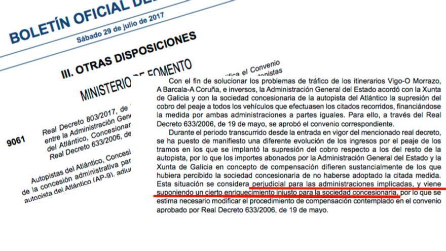 """Real Decreto publicado en el BOE en el que Fomento admite el """"enriquecimiento injusto"""" de Audasa, concesionaria de la AP-9"""