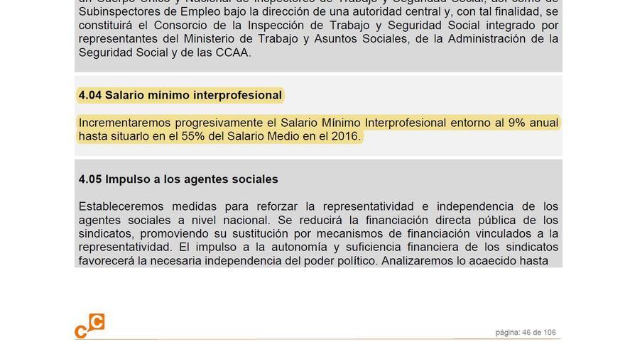 Propuesta de Ciudadanos sobre el Salario Mínimo en su programa electoral de 2008
