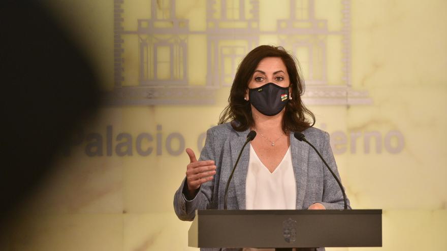 La presidenta del Gobierno de La RIoja, Concha Andreu, en comparecencia de prensa en la que ha anunciado nuevas medidas ante el decaimiento del Estado de Alarma