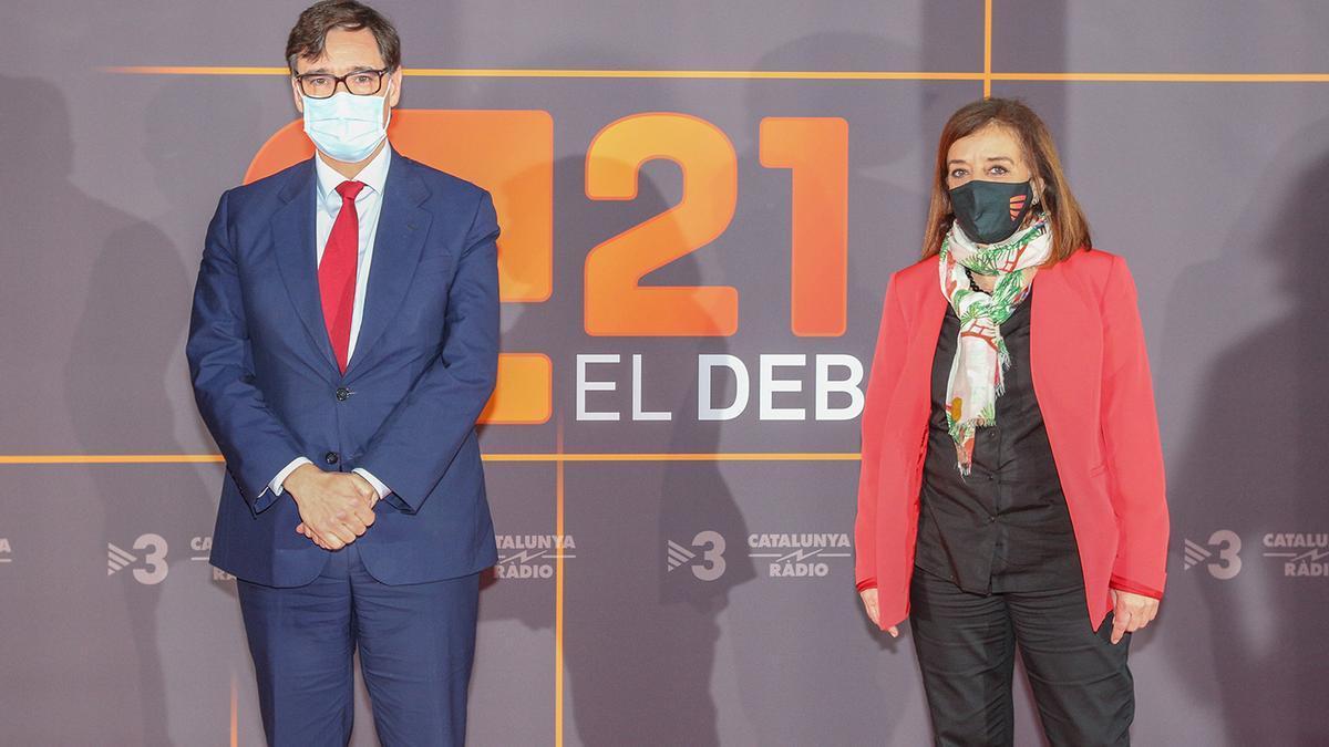 El candidato del PSC, Salvador Illa, a su llegada al debate de TV3 durante la campaña