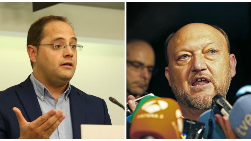 César Luena, secretario de Organización del PSOE, y Antonio Pradas, diputado por Sevilla.