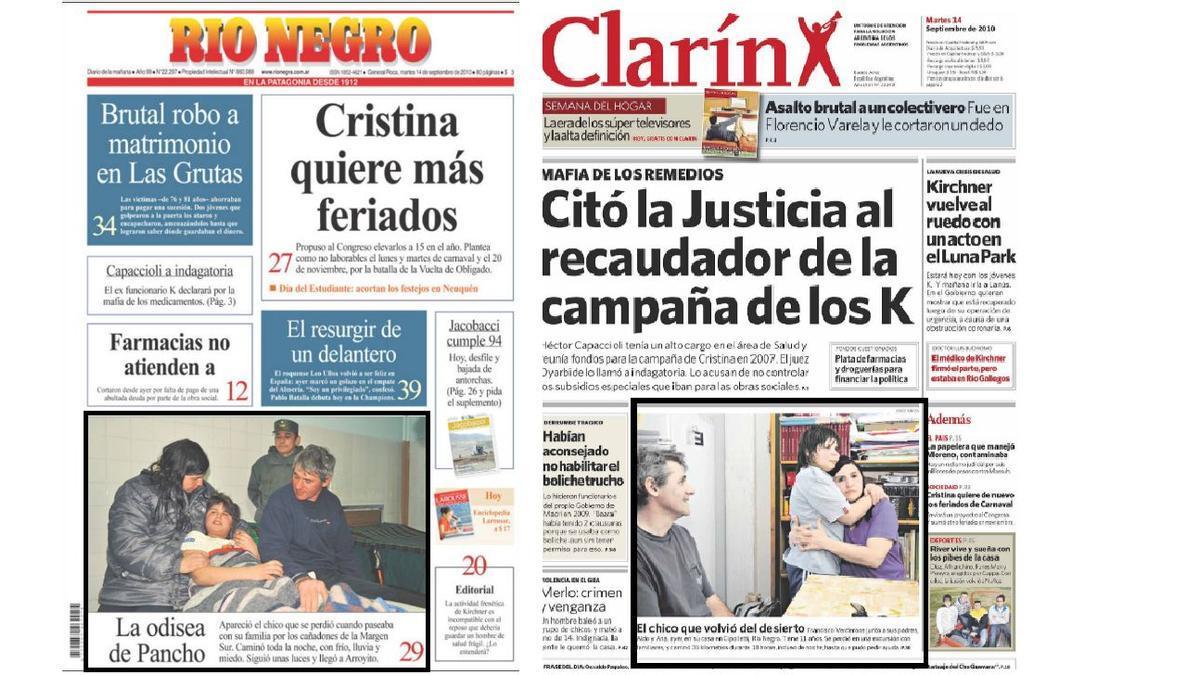 El caso de Francisco, en las tapas de Río Negro y Clarín
