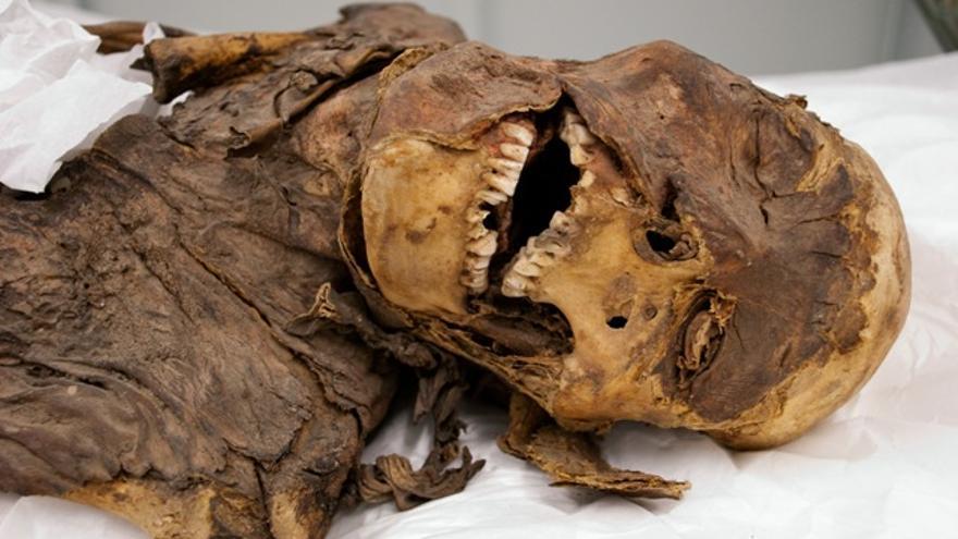 Una de las momias guanches que regresaron a Tenerife en 2011