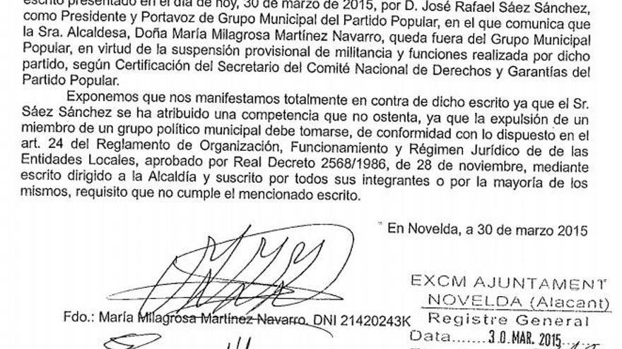 Martínez se sentará en el banquillo como alcaldesa del PP en Novelda al rechazar el grupo municipal su expulsión