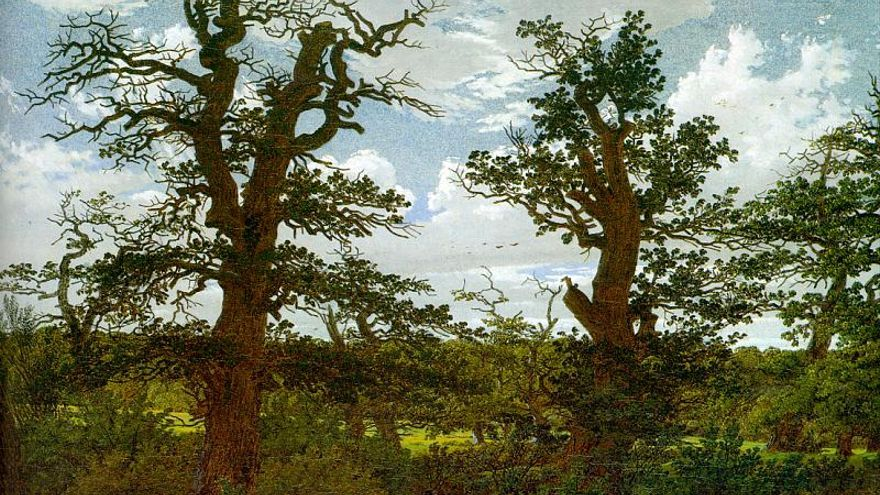 Paisaje con robles y un cazador (1811). | Caspar David Friedrich