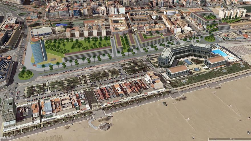 Simulación del hotel y las nuevas zonas verdes proyectadas en la zona de Eugenia Viñes.