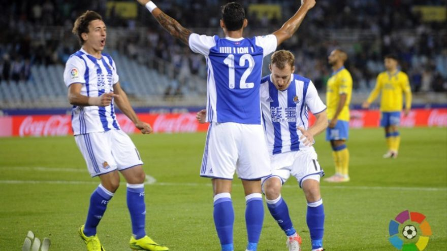 William José celebra su gol ante la UD Las Palmas en Anoeta.