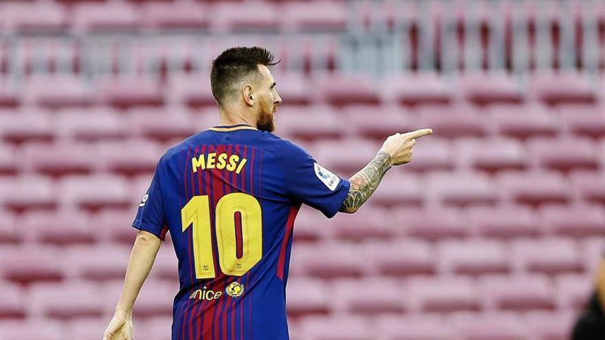 Messi celebra uno de sus goles. EFE/Alejandro García