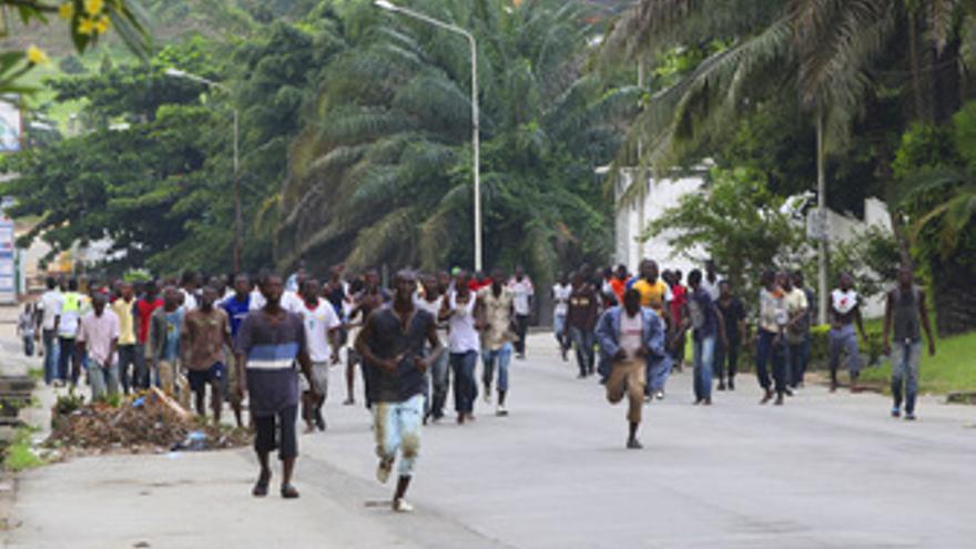 Manifestantes partidarios de Alassane Ouattara