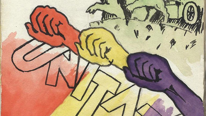 Dibujo en el 'Azi si Maine' del campo de concentración francés de Saint-Cyprien.