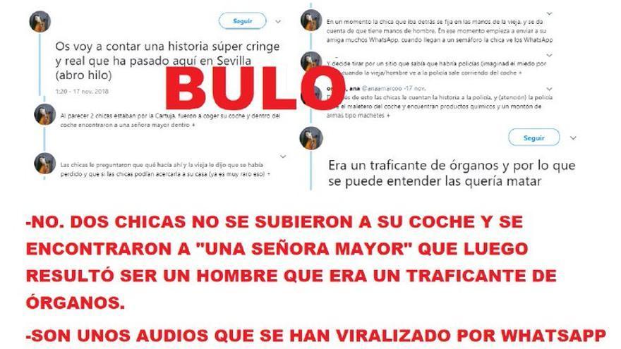 """El bulo de las chicas que se subieron a su coche en Sevilla y se encontraron """"una señora mayor"""" dentro que resultó ser un """"musulmán"""" que era traficante de órganos"""