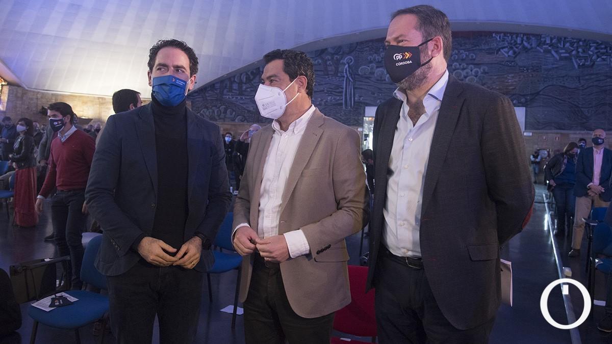 Teodoro García Egea, Juanma Moreno y Adolfo Molina en el congreso del PP cordobés.