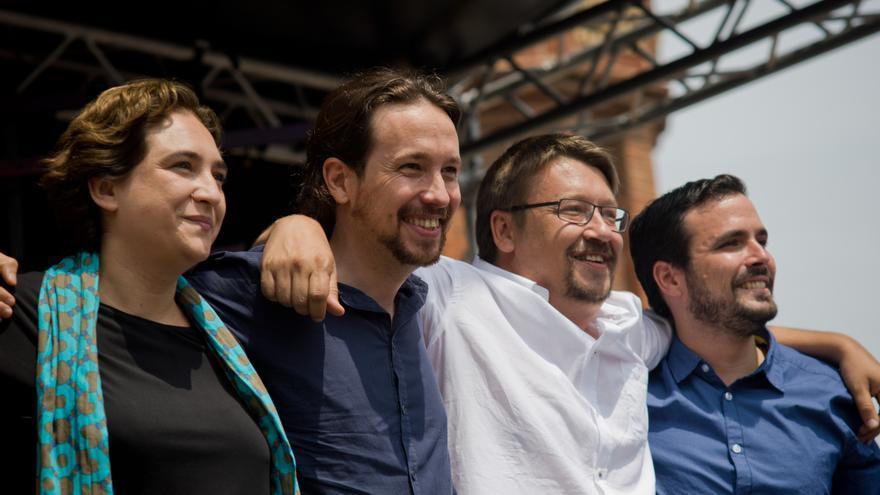 Ada Colau, junto a Pablo Iglesias, Alberto Garzón y Xavier Domènech.