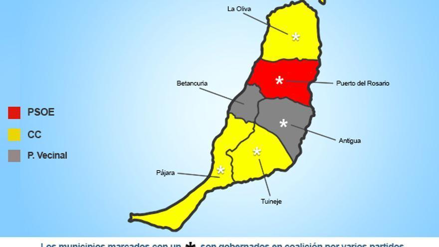 Mapa político de la isla de Fuerteventura.