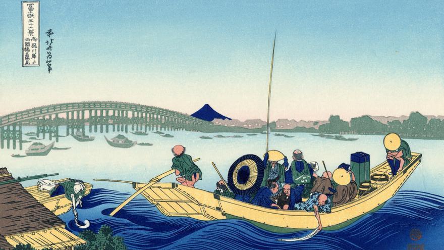 'Puesta de sol a través del puente Ryōgoku desde la orilla del río Sumida, en Onmayagashi', grabado nº 12 de 'Treinta y seis vistas sobre el monte Fuji'