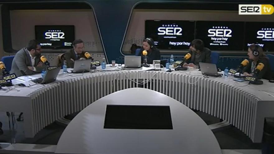 Debate sobre el Estado de la Cultura: Pepa Bueno rodeada de Ibán García del Blanco (PSOE), José María Lassalle (PP), Eduardo Maura (Podemos) y Marta Rivera (Ciudadanos)