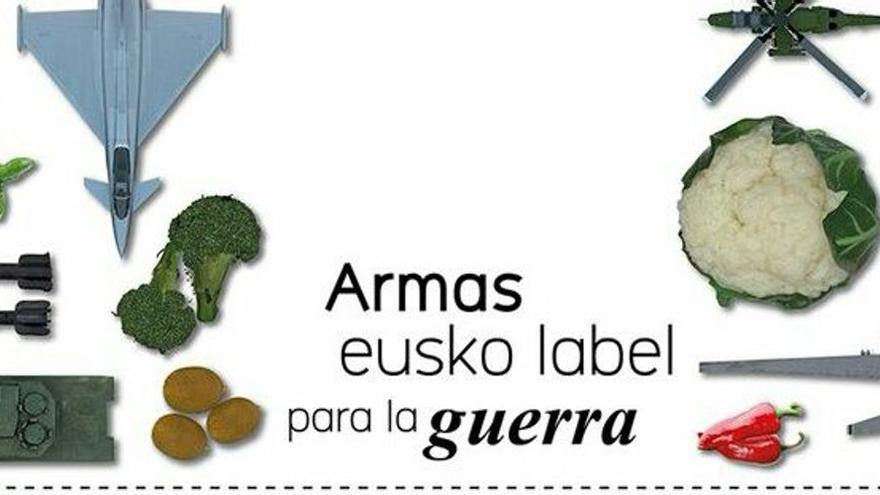 """Imagen de la campaña de denuncia """"Armas Eusko Label para la guerra"""""""