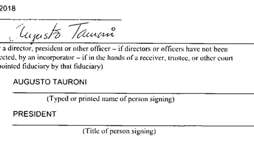 Documento firmado por Tauroni en 2018 ante el Registro Mercantil del Estado de Florida