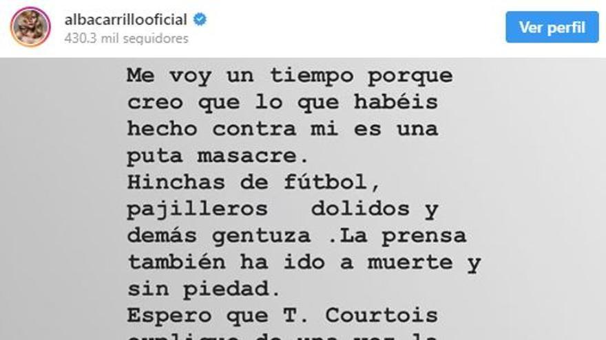 Publicación de Instagram de Alba Carrillo