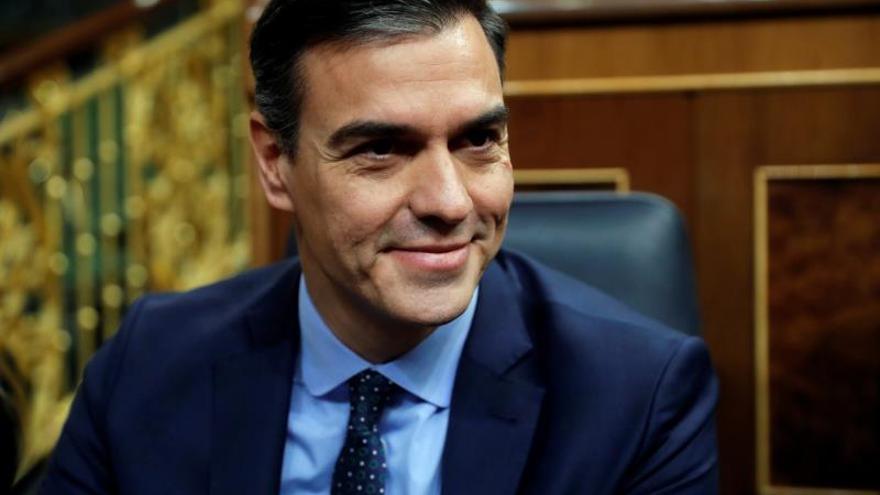 El presidente del Gobierno en funciones, Pedro Sánchez, este martes al inicio de la sesión constitutiva del Congreso de los Diputados.