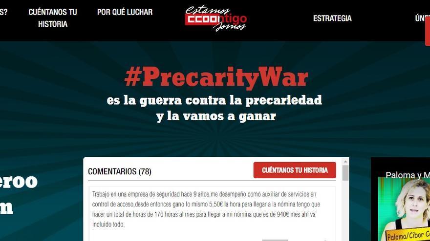 Pantallazo de la web Precarity War