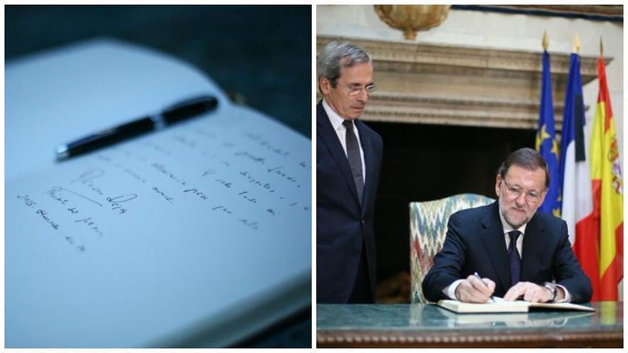 Rajoy firma en el libro de condolencias de la Embajada de Francia