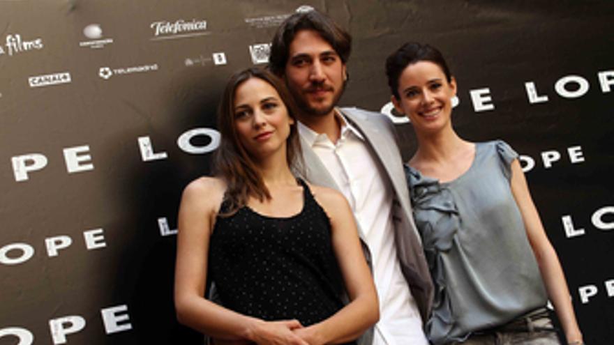 Leonor Watling, Alberto Ammann y Pilar López de Ayala en la presentación de 'Lop