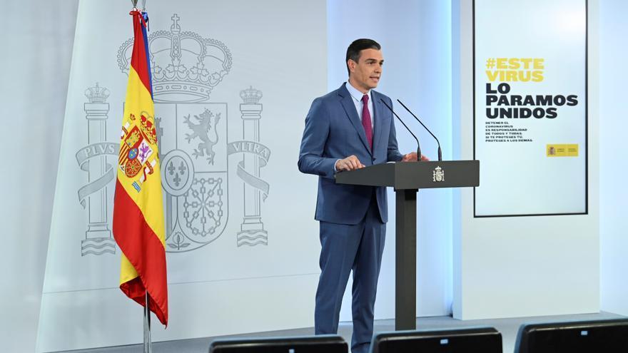 El presidente del Gobierno, Pedro Sánchez, durante la comparecencia en la que dio a conocer la nueva composición del Gobierno.