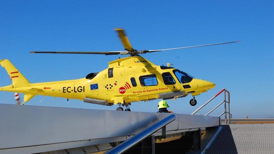 La mayoría de los pacientes trasladados al HUC en helicóptero procedían de la isla de La Palma