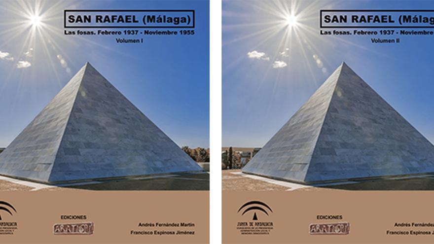 Portadas de los dos volúmenes del libro 'San Rafael (Málaga). Las fosas. Febrero 1937-Noviembre 1955'.