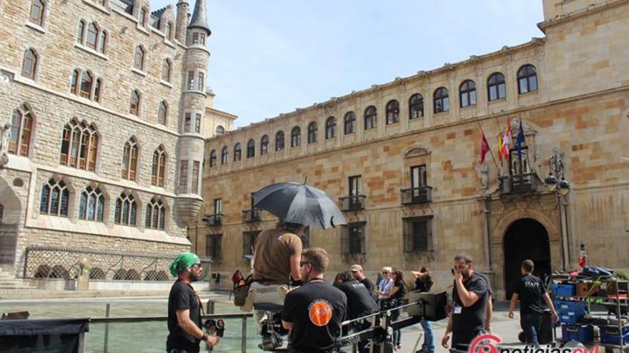 Imagen del primer rodaje en León este lunes