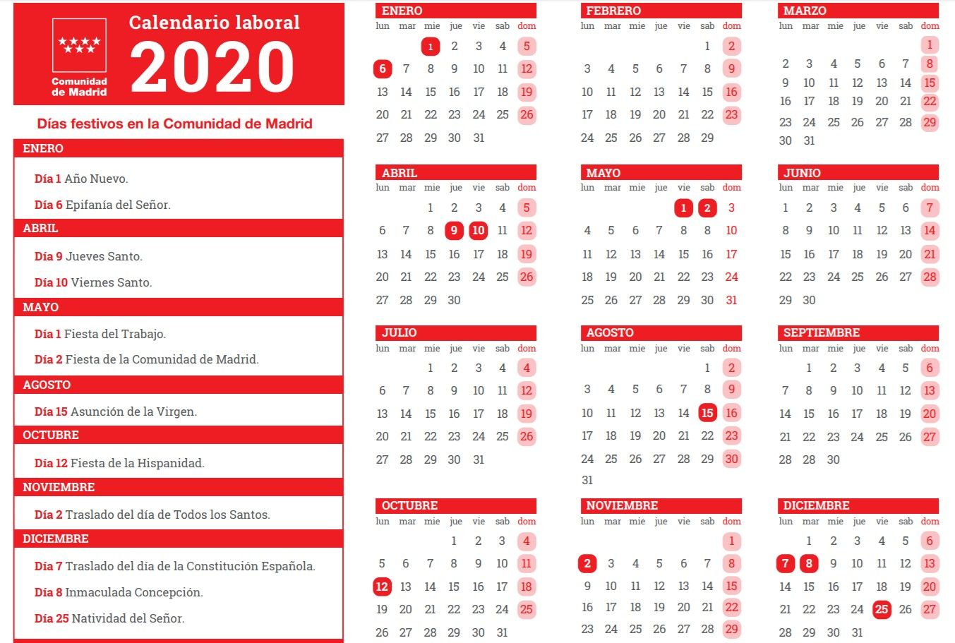 Calendario Laboral 2020 Madrid