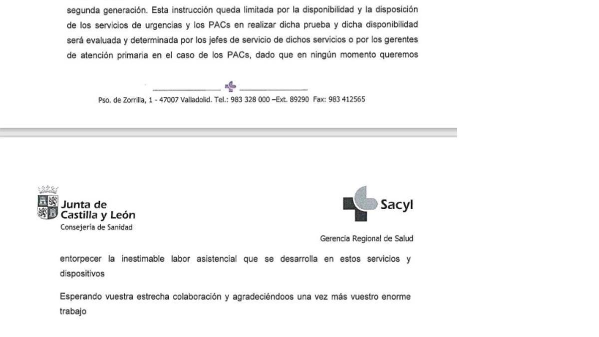Escrito de Sanidad que rectifica la instrucción sobre las pruebas de antígenos.