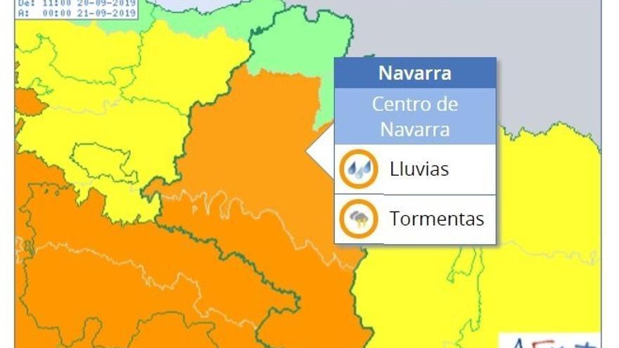 La Aemet activa el aviso naranja por lluvias y tormentas esta tarde en Navarra que pueden ser muy fuertes