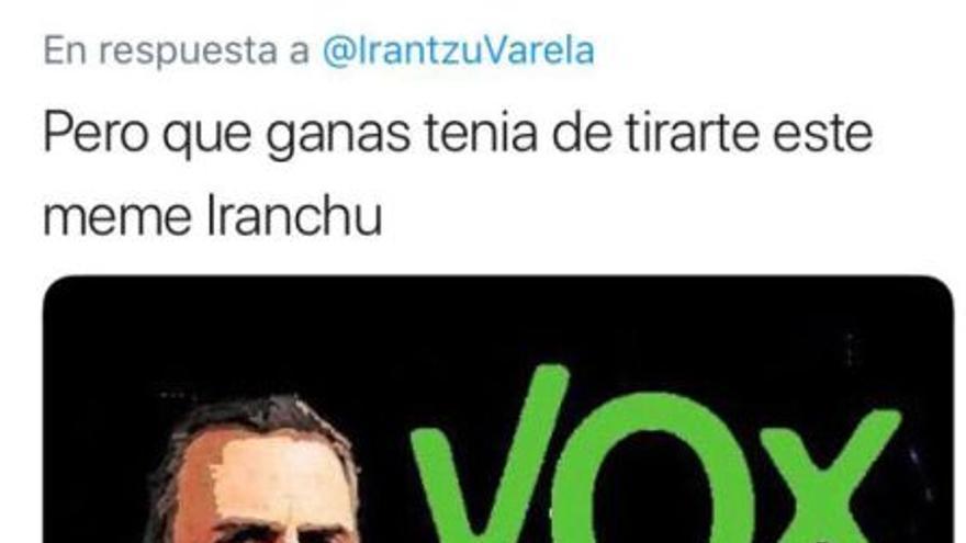 Meme recibido por Irantzu Varela al conocerse los resultados de las elecciones en Andalucía.