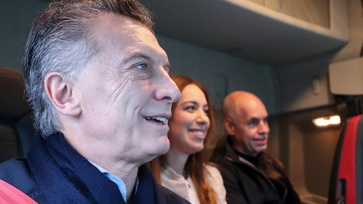 Mauricio Macri, Horacio Rodríguez Larreta y María Eugenia Vidal, en la inauguración del Paseo del Bajo, en mayo de 2019.