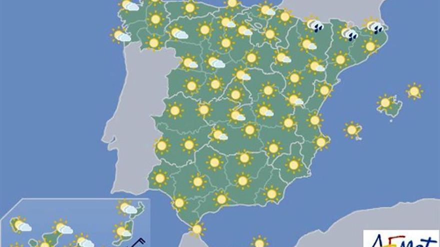 Las temperaturas volverán hoy a ser muy altas en el interior peninsular