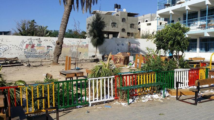 El patio central de la escuela de la UNRWA en Beit Hanún, Gaza. Foto: Manu Pineda, Unadijum.