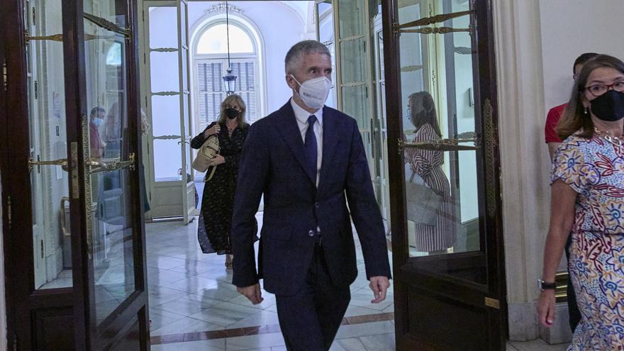 El ministro de Interior, Fernando Grande-Marlaska, a su llegada al acto de traspaso de la cartera ministerial de Función Pública, en la Secretaría General de la Función Pública, a 12 de julio de 2021, en Madrid (España).