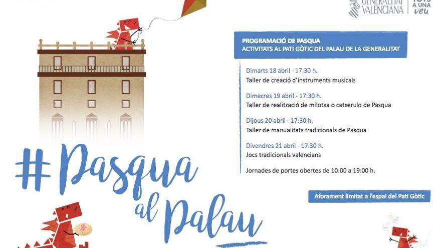 El Palau de la Generalitat celebra la Pascua con talleres y juegos tradicionales valencianos en su patio gótico.
