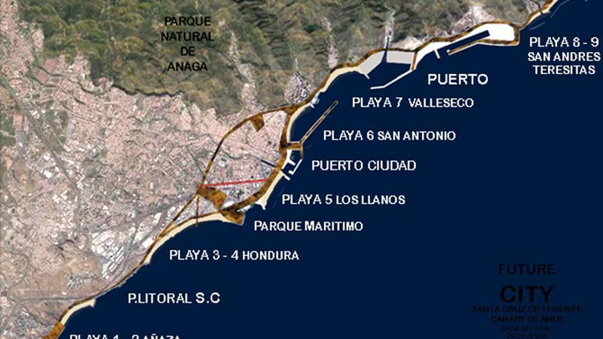 Plano con las nuevas playas del litoral santacrucero propuesto por el CCN.