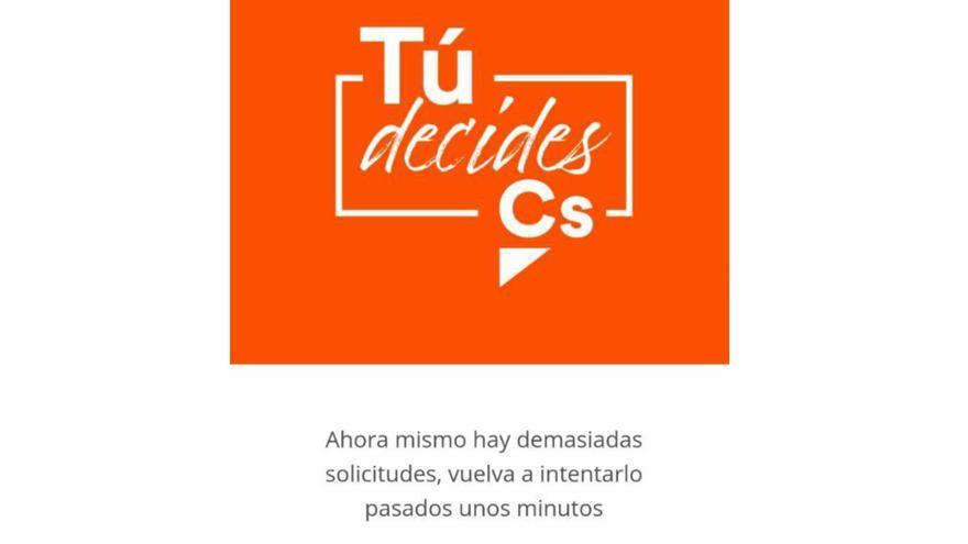 Caída del sistema de voto telemático de Ciudadanos para elegir compromisarios