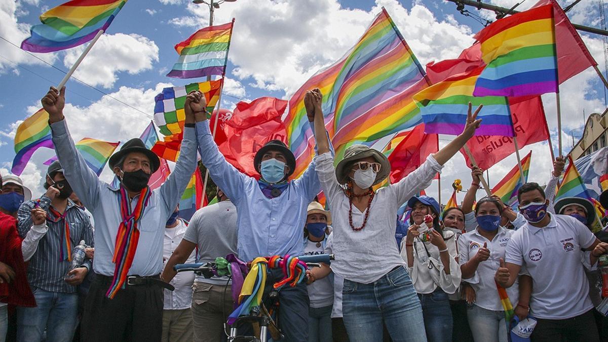 El candidato indigenista ecuatoriano Yaku Pérez