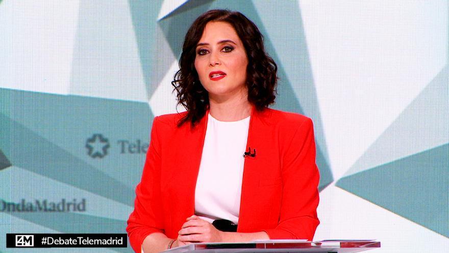 Ayuso, en el debate del 4M de Telemadrid