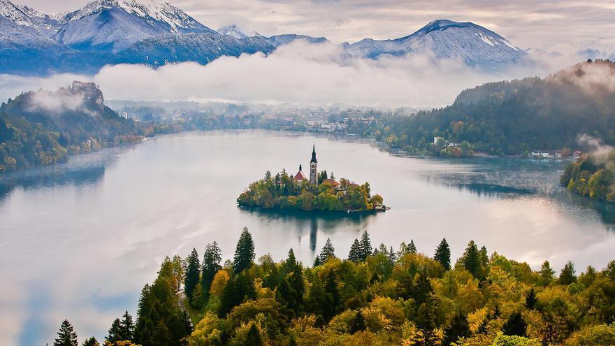 Vista aérea del Lago Bled, una de las joyas de Eslovenia. SLOVENIA.INFO