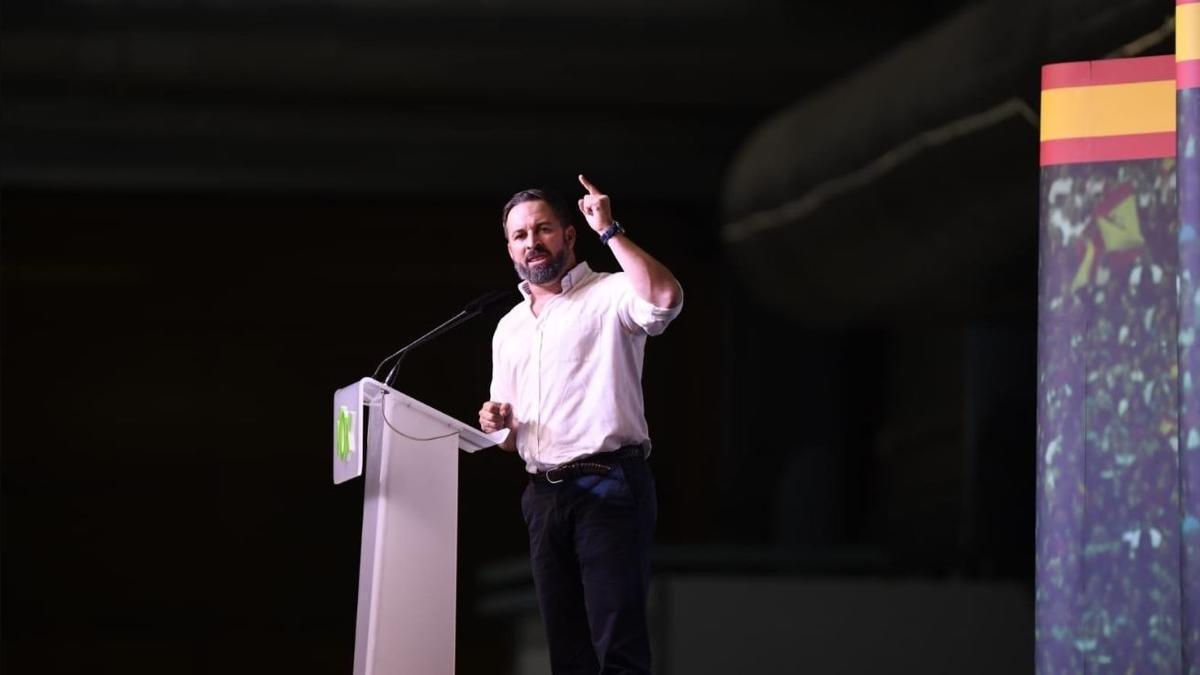 El líder de Vox, Santiago Abascal, en un mitin en Alicante.