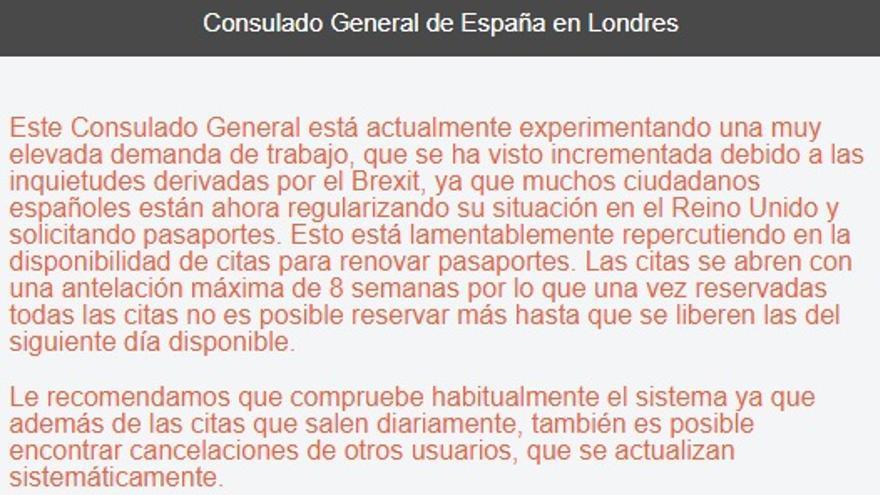 Mensaje que aparece en la web del consulado al pedir cita para renovar pasaporte o registrarse como residente
