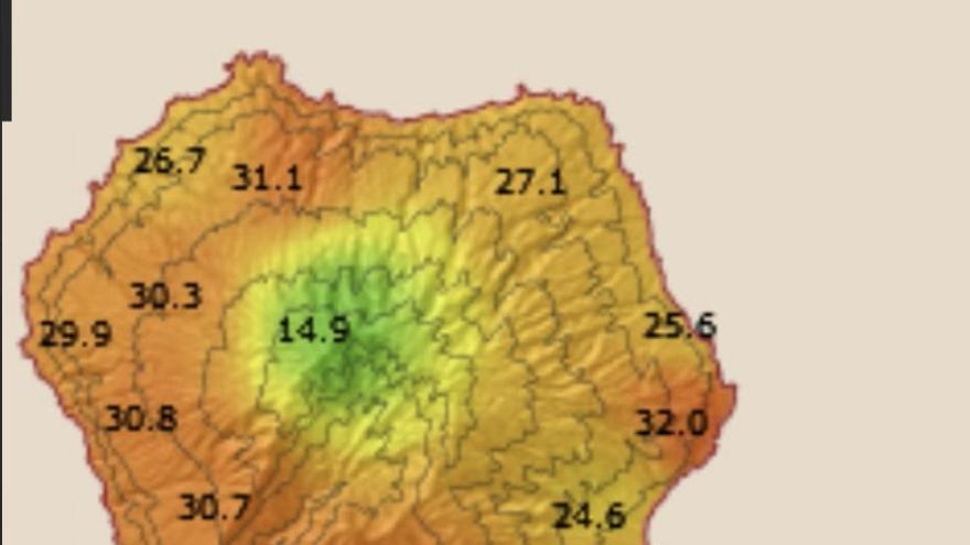 Mapa con las temperaturas más altas registradas en La Palma este viernes.